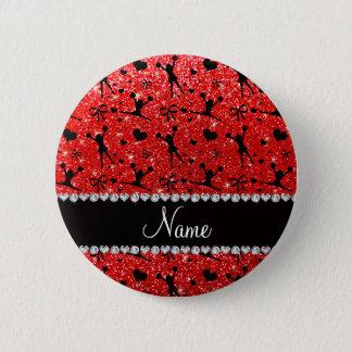 Custom name neon red glitter cheerleading pinback button