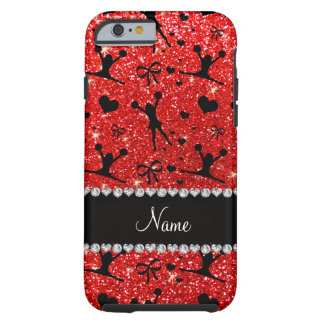 Custom name neon red glitter cheerleading tough iPhone 6 case