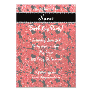 Custom name neon red glitter cheerleading magnetic invitations