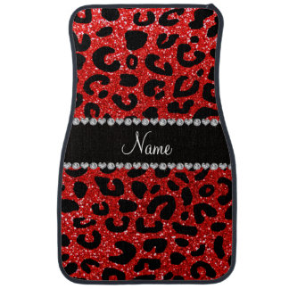 Custom name neon red glitter cheetah print car floor mat