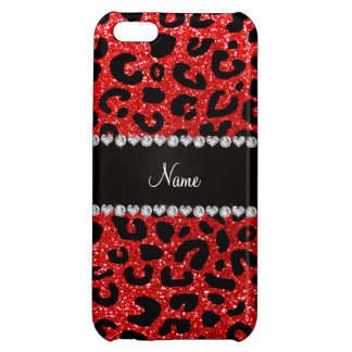 Custom name neon red glitter cheetah print cover for iPhone 5C