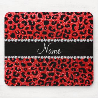 Custom name neon red glitter cheetah print mouse pad
