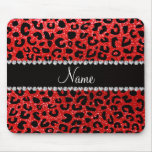 Custom name neon red glitter cheetah print mouse pads