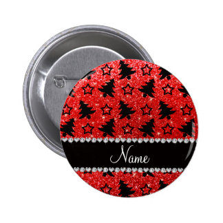 Custom name neon red glitter christmas trees stars pinback buttons