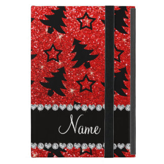 Custom name neon red glitter christmas trees stars case for iPad mini