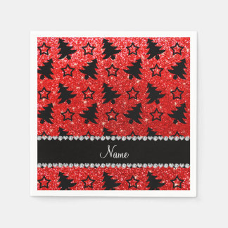 Custom name neon red glitter christmas trees stars paper napkins