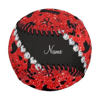Custom name neon red glitter cowboy boots hats baseball