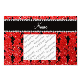 Custom name neon red glitter lacrosse players photographic print