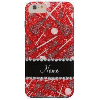 Custom name neon red glitter lacrosse sticks iPhone 6 plus case