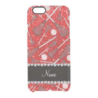 Custom name neon red glitter lacrosse sticks uncommon clearly™ deflector iPhone 6 case