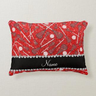 Custom name neon red glitter lacrosse sticks accent pillow