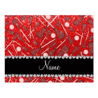 Custom name neon red glitter lacrosse sticks postcard