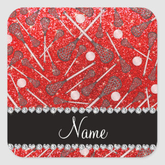 Custom name neon red glitter lacrosse sticks square sticker