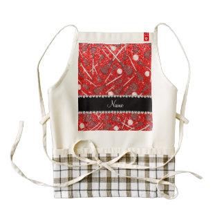 Custom name neon red glitter lacrosse sticks zazzle HEART apron
