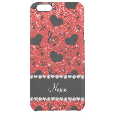 Custom name neon red glitter music notes hearts clear iPhone 6 plus case