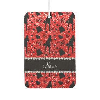 Custom name neon red glitter shopping pattern