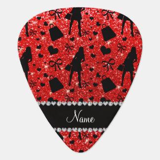 Custom name neon red glitter shopping pattern guitar pick