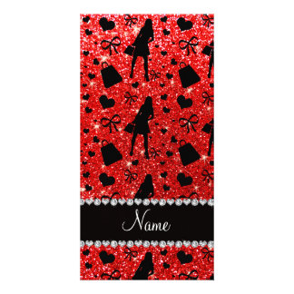 Custom name neon red glitter shopping pattern photo card template