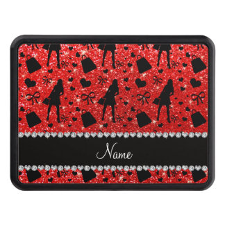Custom name neon red glitter shopping pattern trailer hitch cover