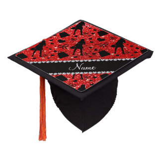 Custom name neon red glitter shopping pattern graduation cap topper