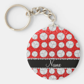 Custom name neon red glitter volleyballs basic round button keychain