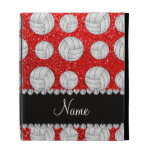 Custom name neon red glitter volleyballs iPad folio covers