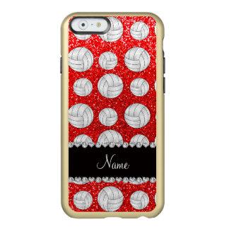 Custom name neon red glitter volleyballs incipio feather® shine iPhone 6 case