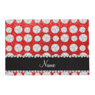 Custom name neon red glitter volleyballs laminated placemat