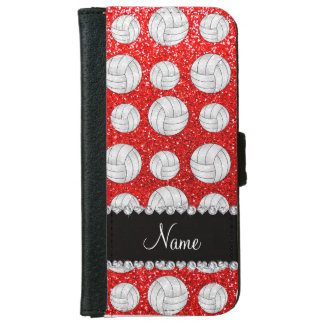 Custom name neon red glitter volleyballs iPhone 6 wallet case