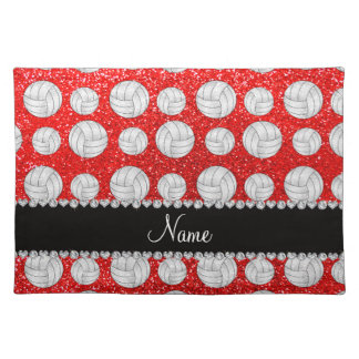 Custom name neon red glitter volleyballs cloth place mat