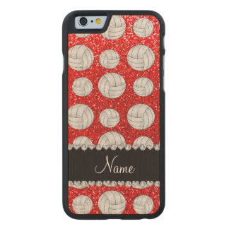 Custom name neon red glitter volleyballs carved® maple iPhone 6 slim case
