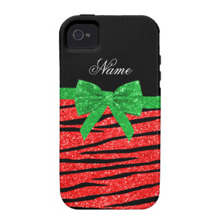 Custom name neon red glitter zebra stripes bow case for the iPhone 4