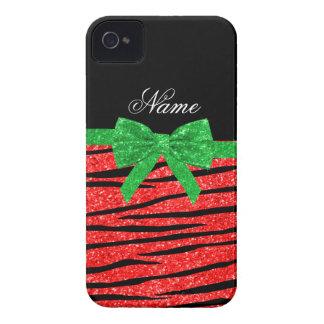 Custom name neon red glitter zebra stripes bow Case-Mate blackberry case