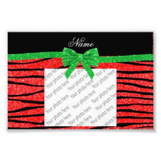 Custom name neon red glitter zebra stripes bow photo print
