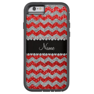 Custom name neon red silver glitter chevrons tough xtreme iPhone 6 case
