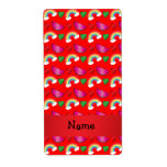 Custom name neon red watermelons rainbows personalized shipping label