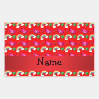 Custom name neon red watermelons rainbows sticker