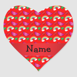 Custom name neon red watermelons rainbows heart stickers