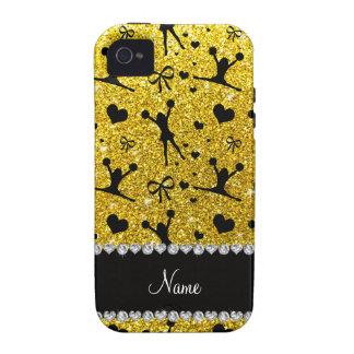 Custom name neon yellow glitter cheerleading iPhone 4 cases