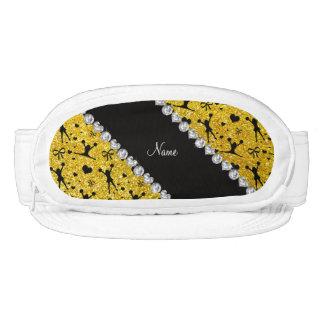 Custom name neon yellow glitter cheerleading visors