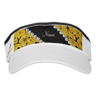 Custom name neon yellow glitter cheerleading headsweats visors