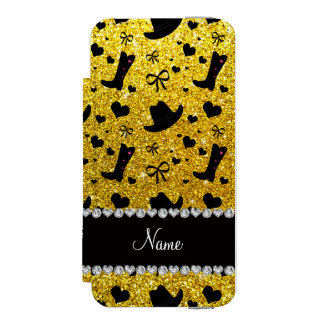 Custom name neon yellow glitter cowboy boots hats wallet case for iPhone SE/5/5s