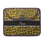 Custom name neon yellow glitter leopard print sleeve for MacBooks