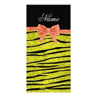 Custom name neon yellow glitter zebra stripes bow photo card