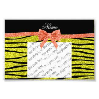 Custom name neon yellow glitter zebra stripes bow photo print