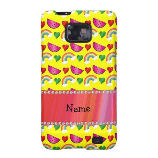 Custom name neon yellow watermelons rainbows heart galaxy SII cases