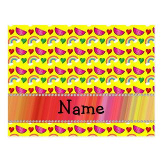 Custom name neon yellow watermelons rainbows heart postcards