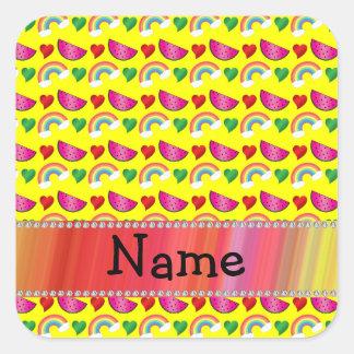 Custom name neon yellow watermelons rainbows heart square stickers
