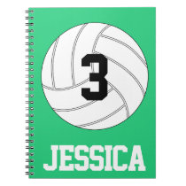 Custom Name, Number and Color Volleyball Notebook
