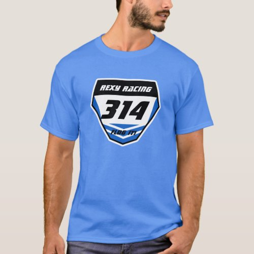 Custom Name Number Plate Blue _ Dark Number T_Shirt